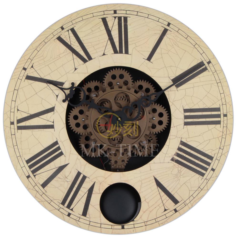 Hot sale gear clock 16 inch wall mounted gear creative european antique clock pendulum gear - Antique clock designs for your home ...