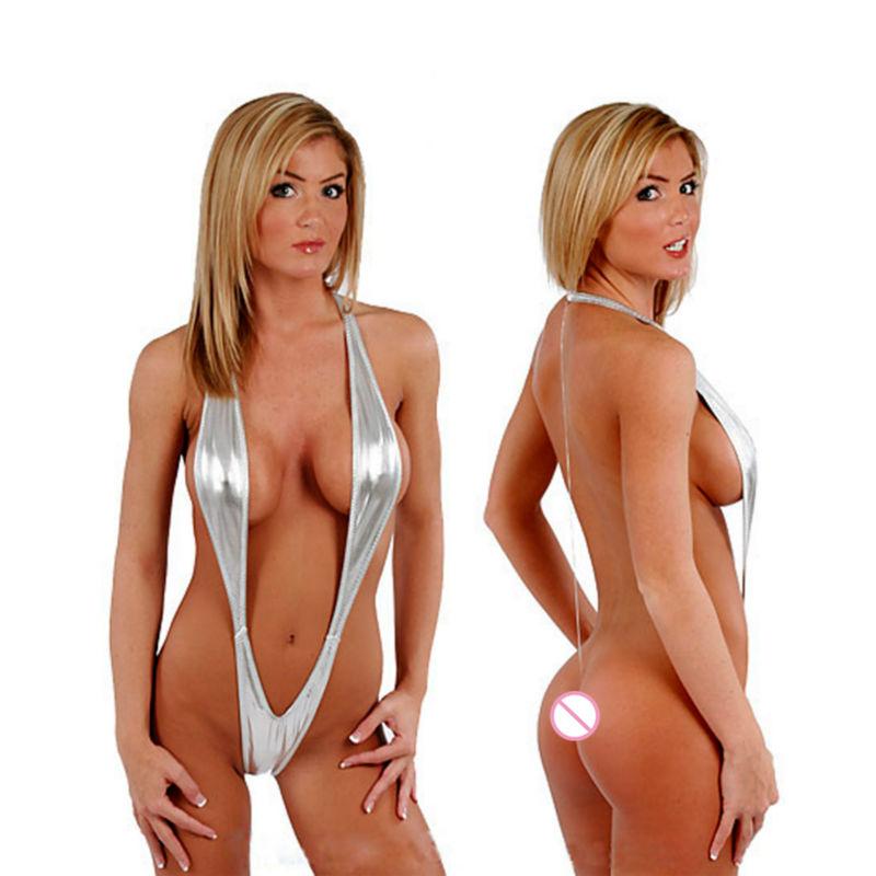 Women Open Crotch PVC Lingerie Bikini Faux Leather Backless Costume Fantasias Femininas(China (Mainland))
