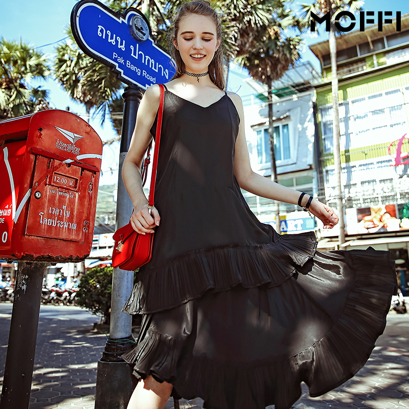 Новый женщины шифон платья мода воланами дамы ремень платье