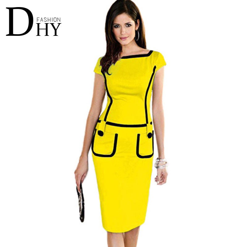 Summer New European Solid Color Dress Knee-Length Yellow Dresses Fashion Design Polyester Office Women Dress Vestido DR002(China (Mainland))