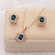 New Fashion Austria Crystal Earrings Necklace Sets 18k Gold Plated Women Bridal Classic Wedding rhinestone romantic Jewelry Set(China (Mainland))