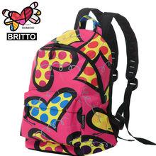 2017 Fashion Girls Backpack ROMERO BRITTO Graffiti Travel Bag graffiti Style Retro Backpack & Shoulders Bag(China (Mainland))