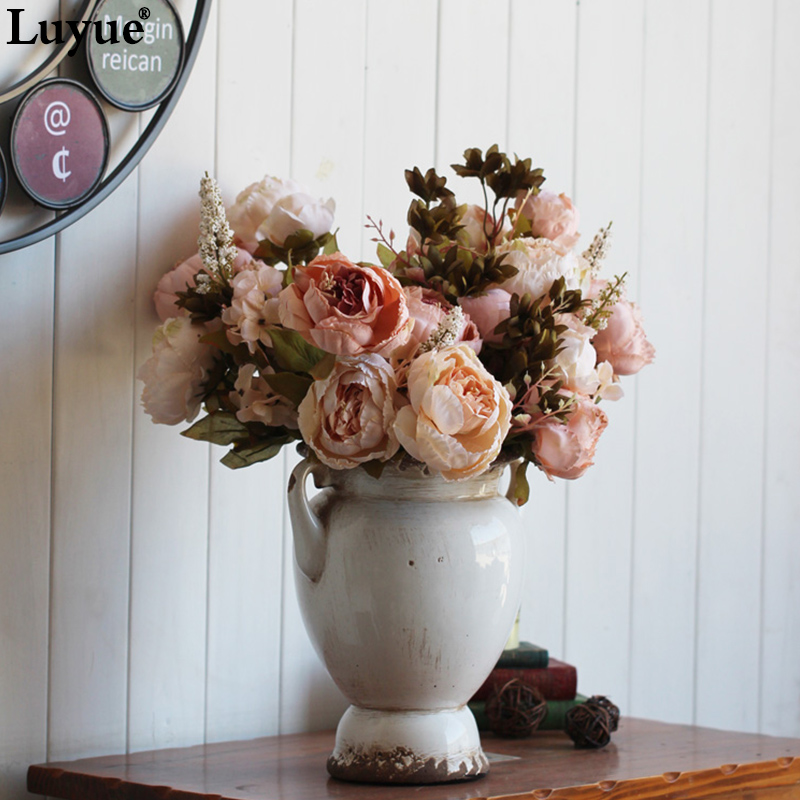 Vintage Silk Flower European 1 Bouquet Artificial Flowers Fall Vivid Peony Fake Leaf Wedding Home Party Decoration 13 Branches(China (Mainland))