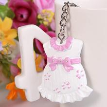 New Creative Pink Baby Girl Dress Key Chains Babies Shower Bridal Wedding Party Favors(China (Mainland))