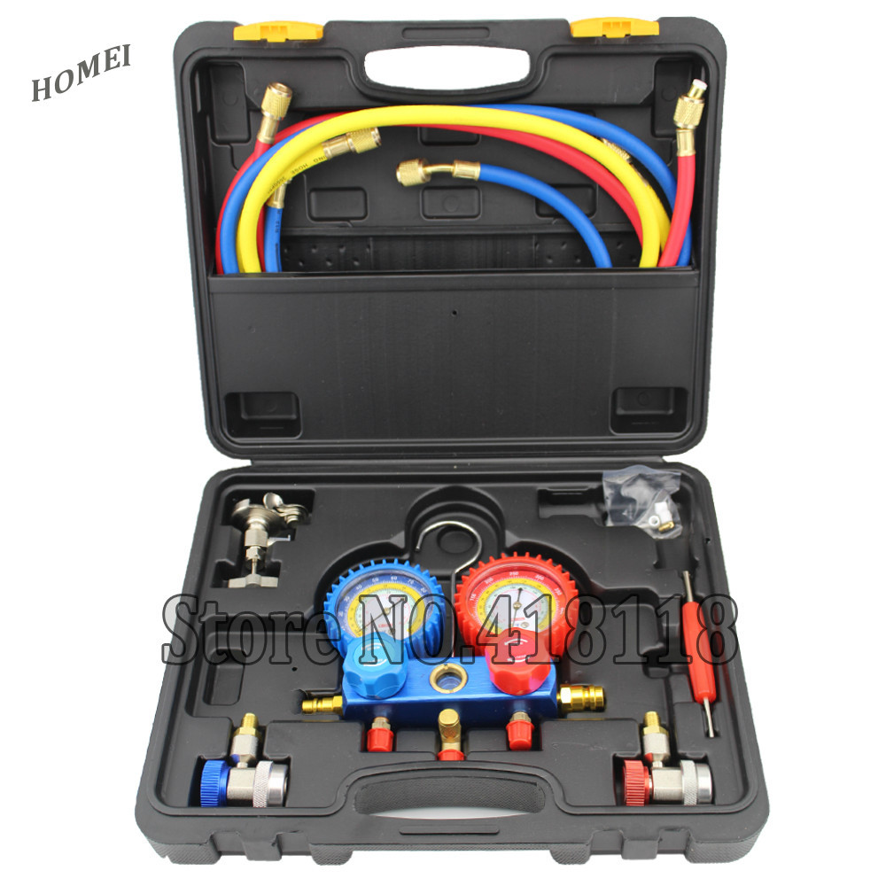 Refrigeration Air Conditioning Manifold Gauge Maintenence Tools R134A Car Set With Carrying Case(China (Mainland))
