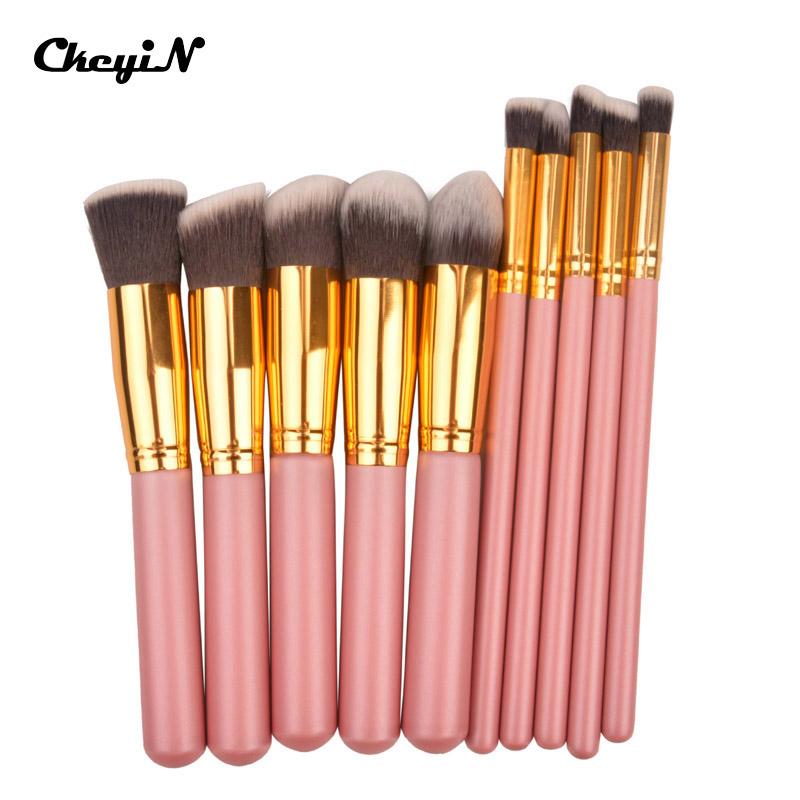 10Pcs/Set Pro Techniques Powder Handle Cosmetic Makeup Brushes Kit Set Foundation Tools Eyeshadow Flat Brushes Beauty Care MAT21(China (Mainland))