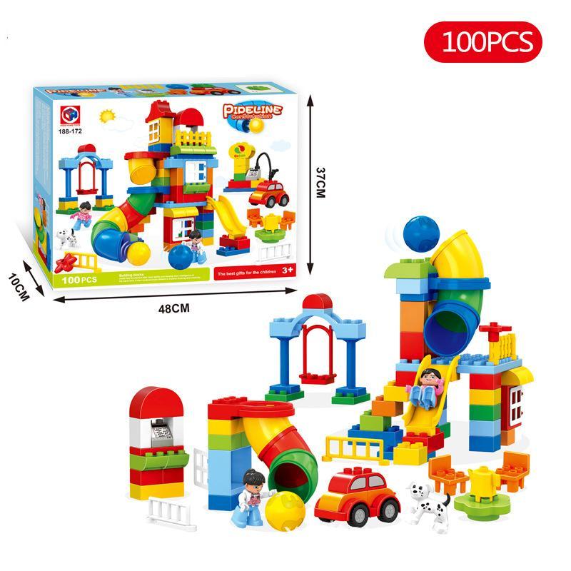 Hot Funko Large Size 100PCS Happy Paradise Pipeline Minifigures Building Blocks Bricks Set Toy Educational Toys Duplo Kids Toys(China (Mainland))
