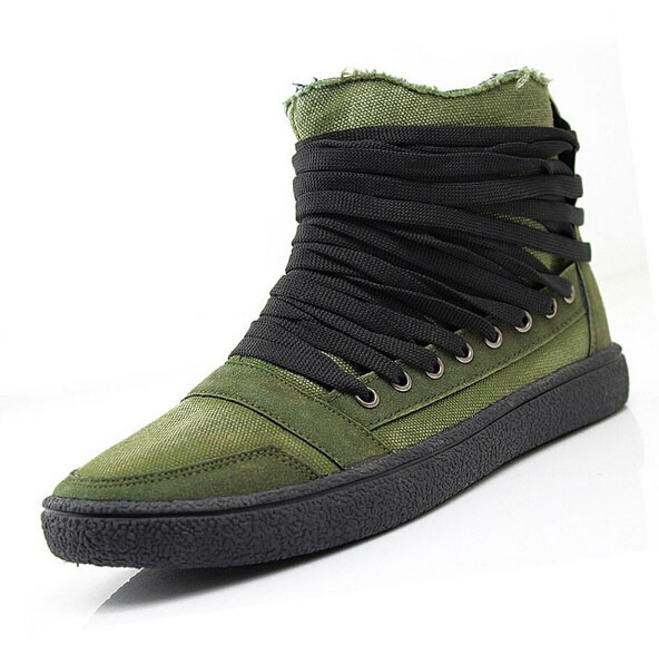 2015 New Men Sneaker Boots Handsome Fashion Casual Lace-up Cotton-padded Tide Canvas Shoes - Elegant girl NO 1 store