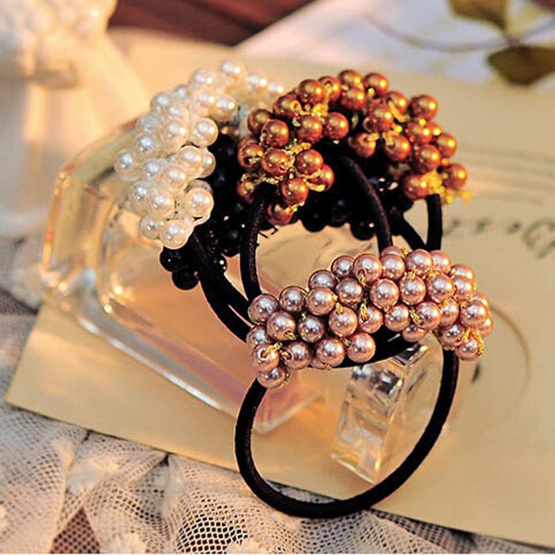 Hot Sale 1 PCS Korean Hair Jewelry Wholesale Beaded Pearl Hair Rope Rubber Band Fashion Lady Flower Hair Band(China (Mainland))