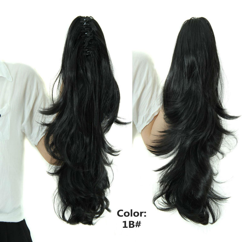 23″ Cheap Synthetic Long Curly Hair Claw Clip In Ponytail Hair Extension Natural Hairpieces My Little Pony Tail PT009
