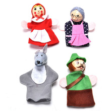 4PCS/1 Set Baby Educational Toy Funny Finger Puppets Toys Little Red Riding Hood Finger Puppets Christmas Gifts(China (Mainland))