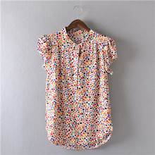 Comfortable casual Open collar Short sleeve Lively lady Blouse Striped flowers Solid Polka Dot Shirts Women's shirt tops,nc14(China (Mainland))