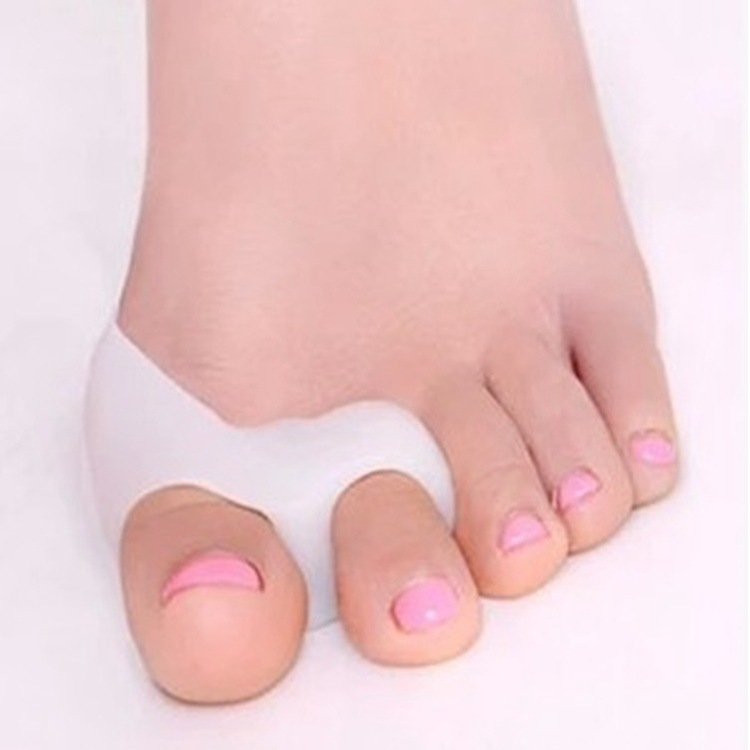 1 Pair Silicone Gel Foot Fingers Two Hole Toe Separator Thumb Valgus Protector Bunion Adjuster Hallux Valgus Guard Feet care