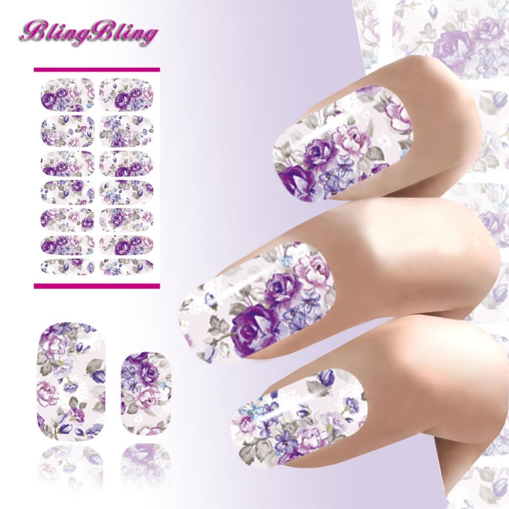 Water Transfer Nails Sticker Romantic Purple Flowers Design Nail Art Sticker Water Decoration(China (Mainland))