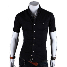 Buy 2017 New Men Shirts Brand Slim Fit Mens Chemise Homme Casual Summer Beach Solid Color Shirt Short Sleeve Shirts XXXL for $8.73 in AliExpress store