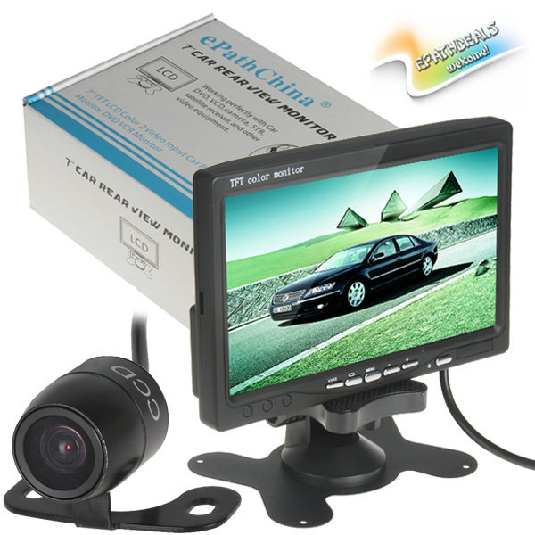 7 inch TFT LCD Color Car Rearview Monitor Headrest Parking 7'' Monitor 2 Video Input for DVD VCR + Car Reverse Rear View Camera(China (Mainland))