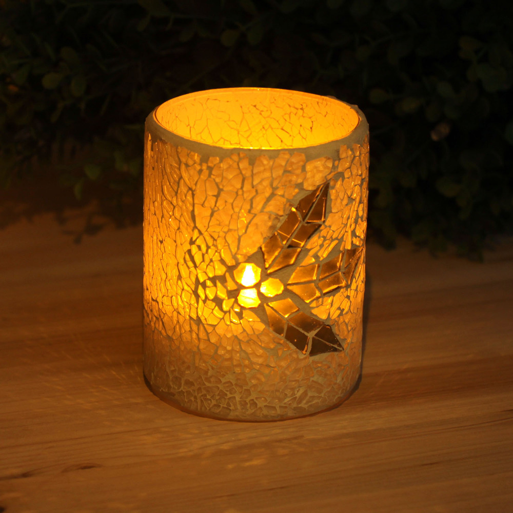 Mosaic Glass Flameless Real Wax Led candle with Timer,work with 2 AA battery,Leaf pattern,3*4 Inch,White(China (Mainland))