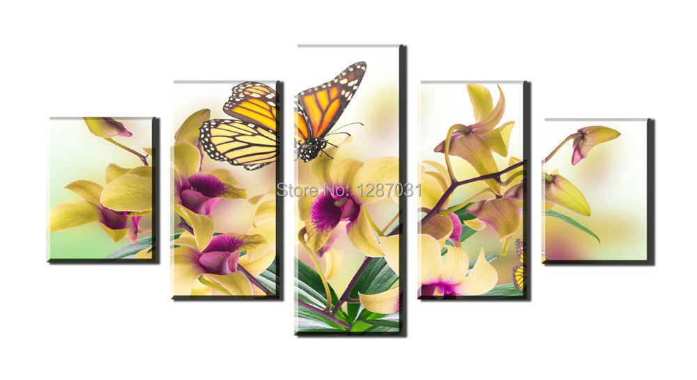 Picture Noble and beautiful phalaenopsis , 5 Panels/Set HD Canvas Print Painting Artwork, Wall Art Picture.Rolled canvas print.(China (Mainland))