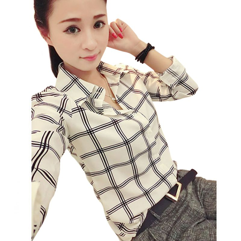 Women Chiffon Tops Long Sleeves Printed Check Shirts font b Plaid b font Shirts Plus Size