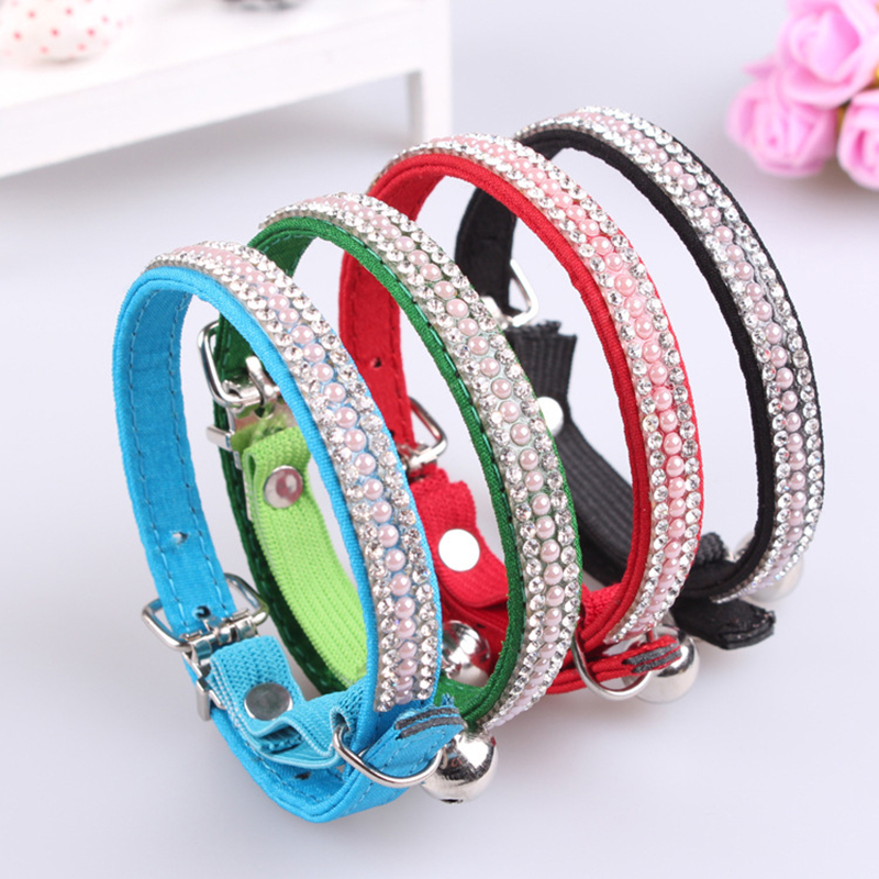 2015 New Arrival Adjustable Cute Rhinestones Collar For Cats Pet Dog Puppy Pu Leather Collars with Crystal Diamond Free Shipping(China (Mainland))