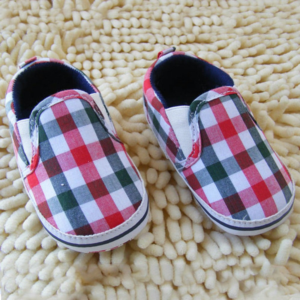 Unique Kids Baby Boy Slip On font b Plaid b font Crib Shoes Cotton Casual Sole