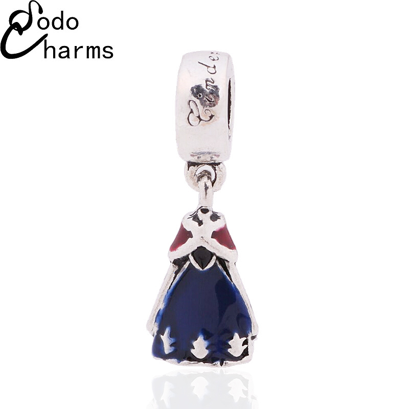 New Jewelry Silver Beads Pendant Fashion DIY Craft Charms European Enamel Blue Queen Dress Fit Pandora Bracelet Charms(China (Mainland))