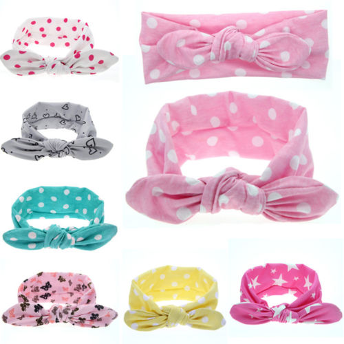 1 X Infant Baby Girls Toddler Newborn Print Dot Rabbit Ears Hairband Turban Bow Knot Headband Hair Band Accessories(China (Mainland))