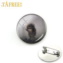 TAFREE Hedgehog Nella Nebbia Spilla uomini donne Spilli per Fatti A Mano di Modo rotondo di Vetro nacture sveglio di stile animale dei monili del metallo h238(China)