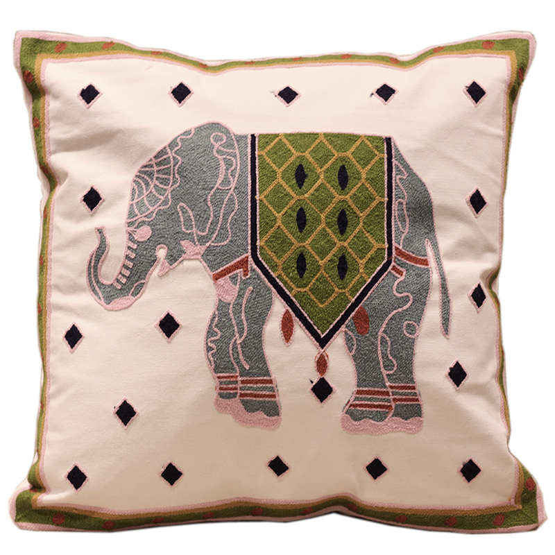 Mascot big elephant 100 cotton embroidery sofa cushion for Couches with removable and washable cushions