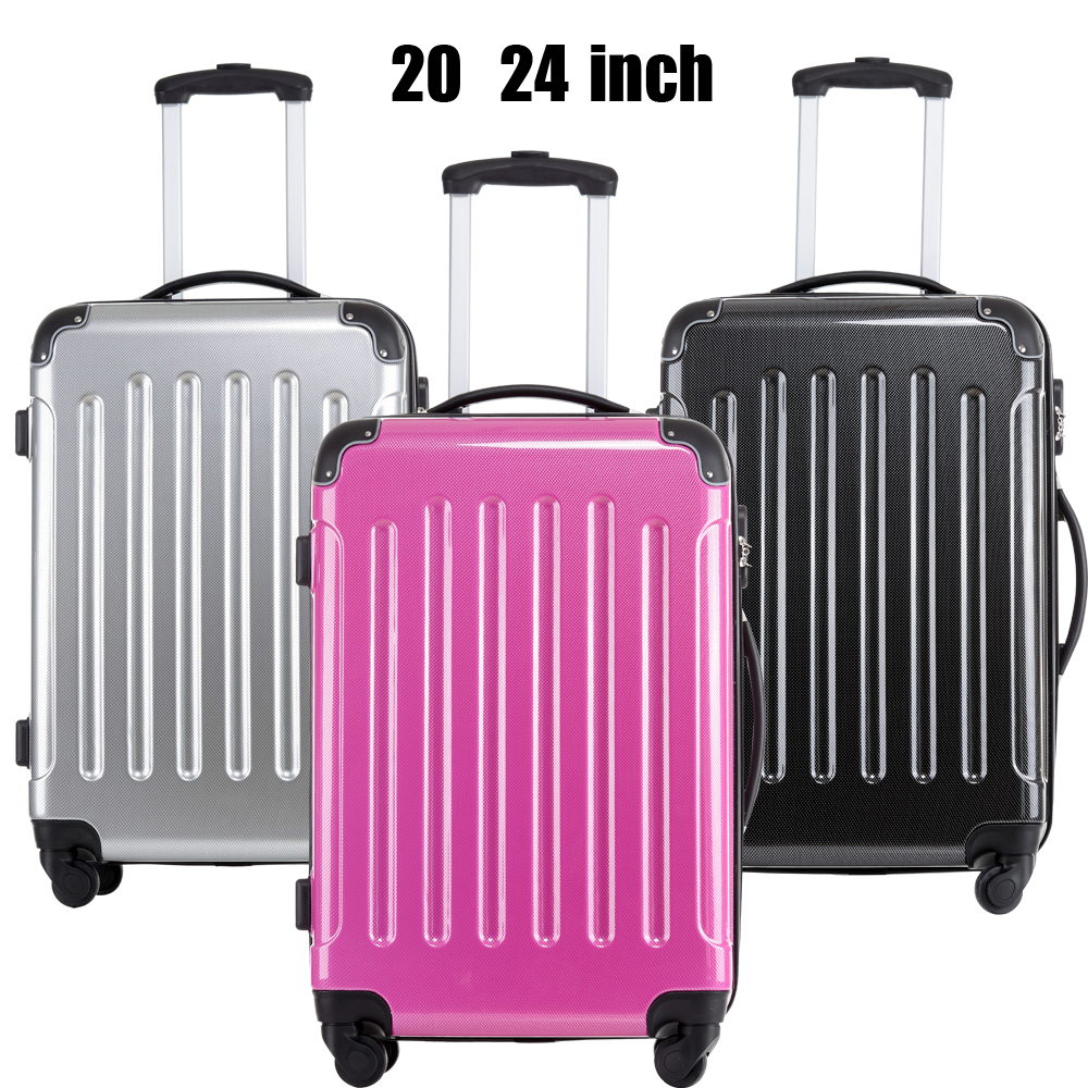 2015 Women Men  Luggage Suitcase 20  24 Inches Universal Wheels Trolley Rolling Suitcase   ABS+PC 3 Colors