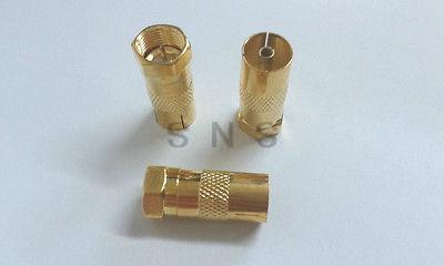 50X Gold plated F Type Male Plug to PAL Female Socket TV Antenna Cable Connectr(China (Mainland))