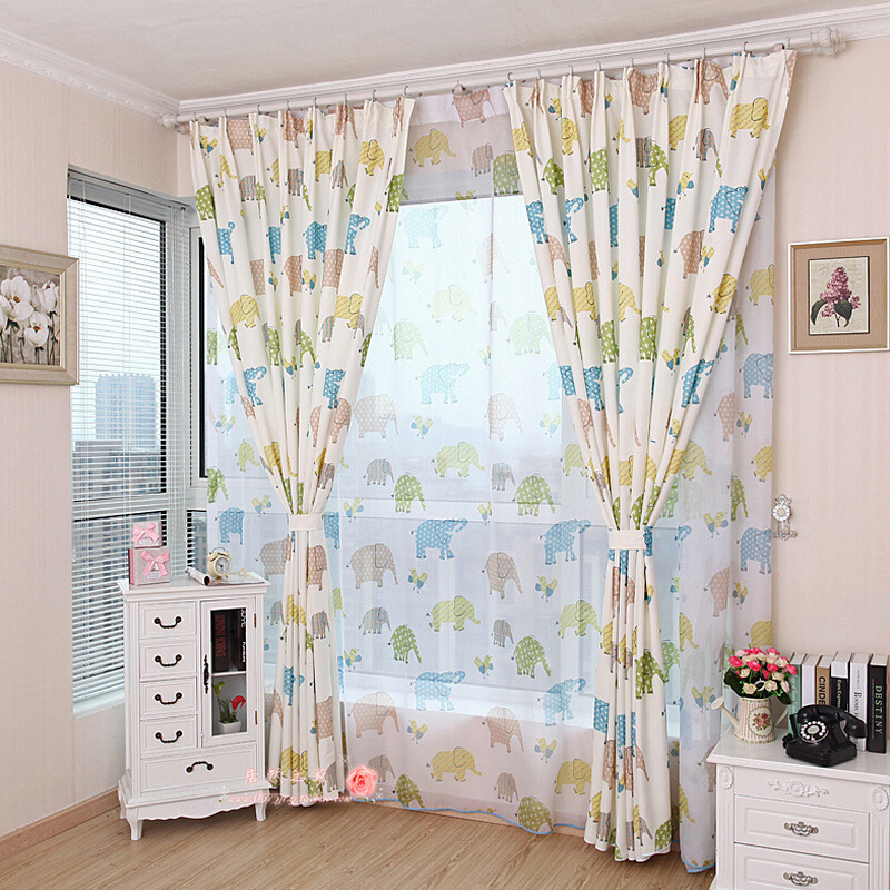 Korean cute elephant pattern shade window blackout for Blackout curtains for kids rooms