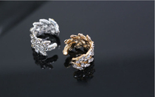 Fashion Personality Rhinestone Leaf Pierced Earring Ear Clip Bones Newest Creative Jewelry LM-C150 - Pop ( drop shipping store)