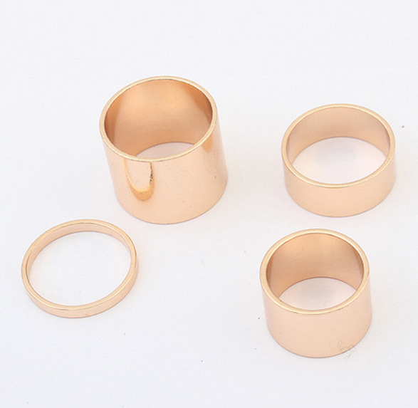 Wholesale shinning silver and gold Ring Ring set combine multiple metal rings for women 4pcs/set X101401(China (Mainland))