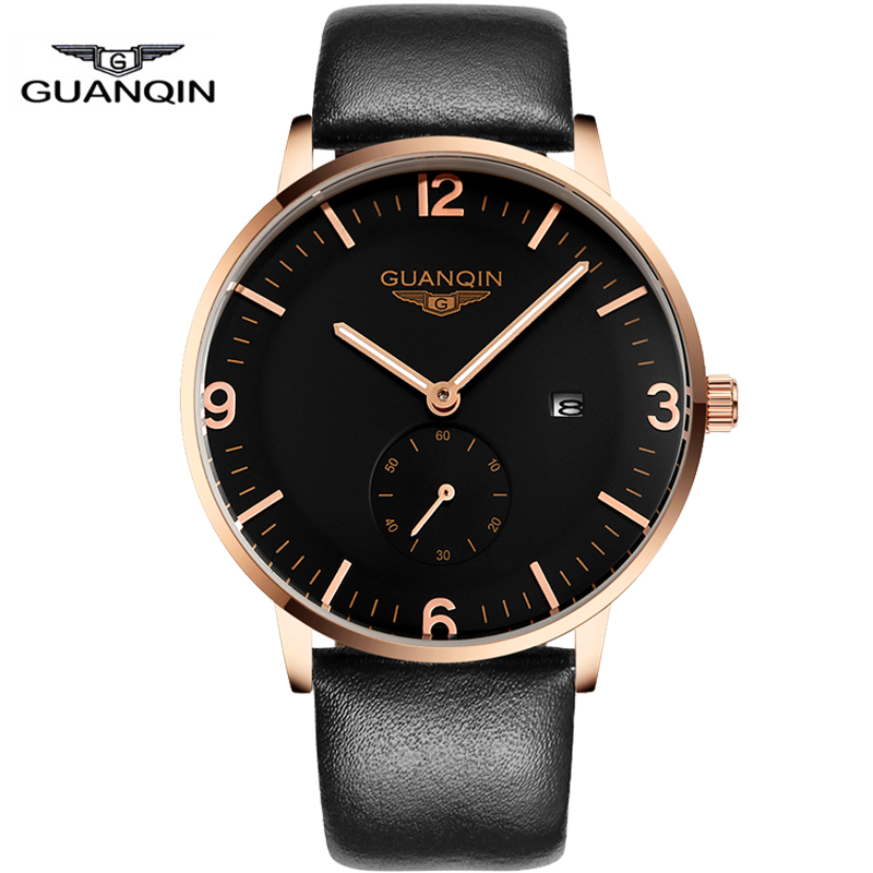 Watches Men Luxury GUANQIN Waterproof Analog Date Brand Wristwatch Leather Casual Quartz Watch relogio masculino 2016 Clock Men<br><br>Aliexpress