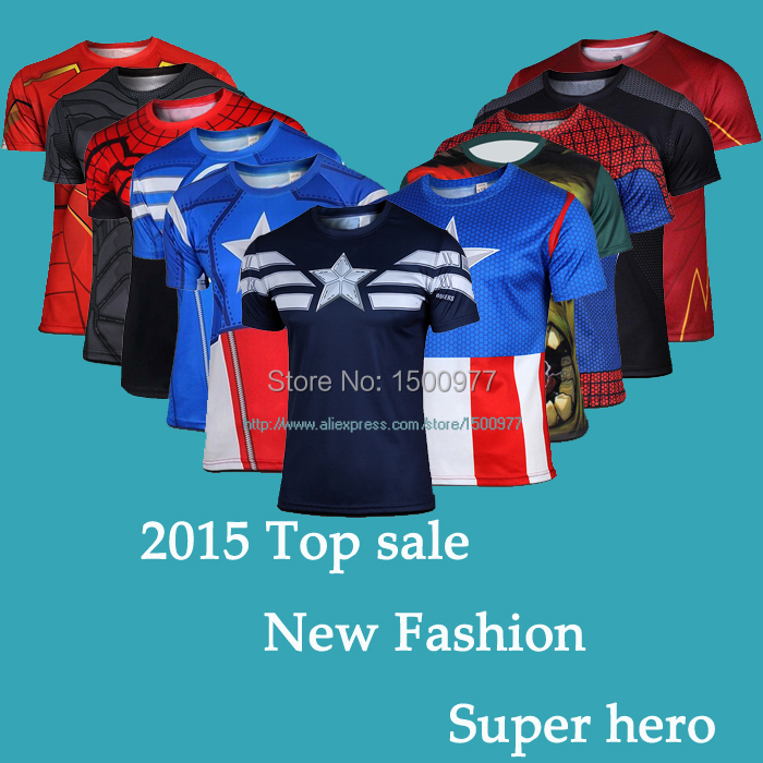 NEW 2015 Marvel Captain America 2 Super Hero lycra compression tights sport T shirt Men fitness clothing short sleeves S-XXXX(China (Mainland))