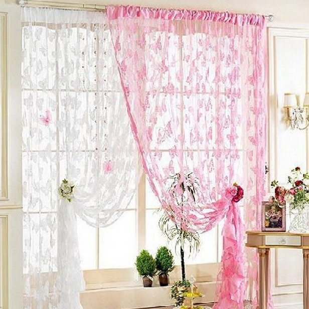 Butterfly Curtains Pink White Line Screens Divider Door Screen Home Office Furniture Home Decor Shade Living Room Drapes Wedding(China (Mainland))