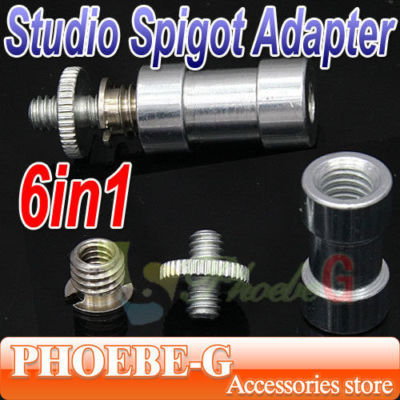 100% New &amp; Wholesale 6in1 1/4 3/8 screw &amp; 5/8 Spigot Stud convert Adapter Free Shipping<br><br>Aliexpress