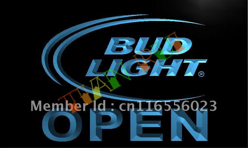 LA025- Bud Light Beer OPEN Bar LED Neon Light Sign(China (Mainland))