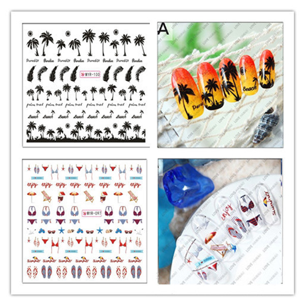 Nail Art Water Decals Summer Coconut Tree Pattern DIY Tips Decorations Sheet on Fingers Water Transfer Nail Art Tattoo 8260949(China (Mainland))