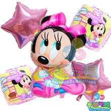 5 unids/lote Minnie Mickey Mouse Foil globos para niños 1 Year Mickey Mouse fiesta de cumpleaños decoración baby shower globo de helio juguetes clásicos