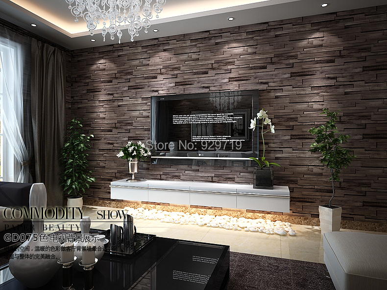 New 3d luxury wood blocks effect brown stone brick 10m for Wallpaper home center