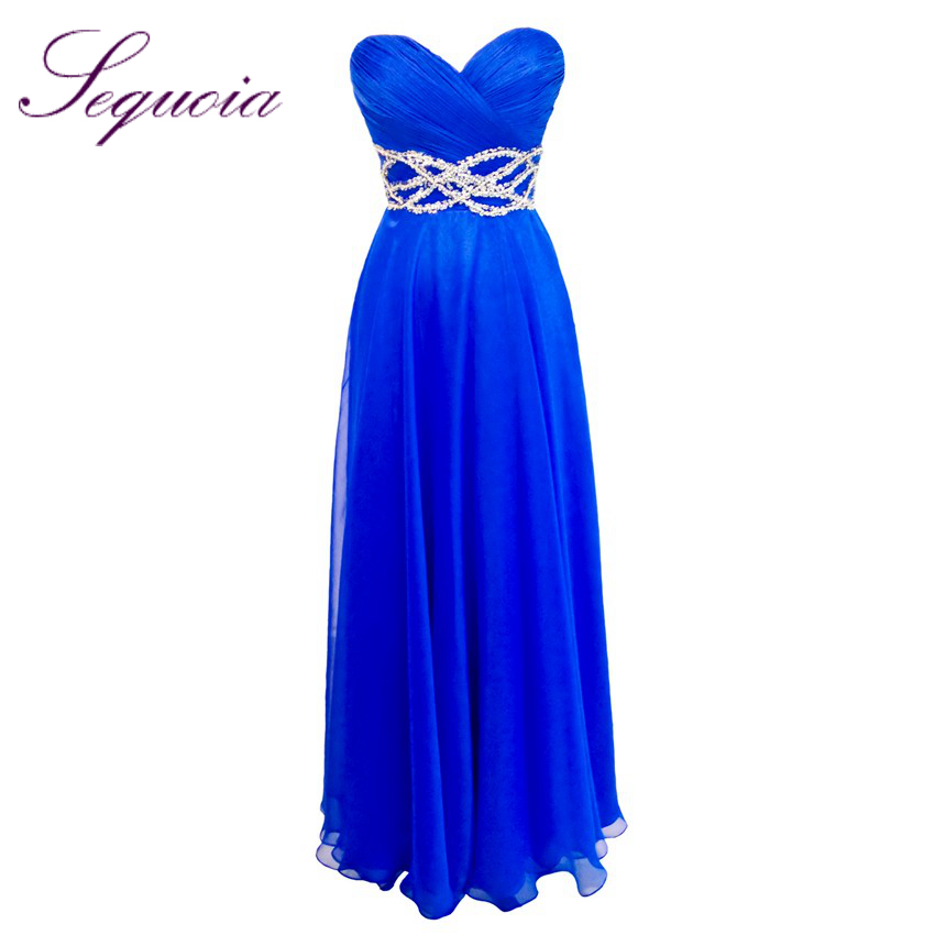 Beautiful Sweetheart Chiffon Long Royal Blue Prom Dresses ...