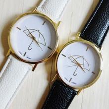 New Womens Watch, 1 PC Umbrella Style Print Leather Band Women Lady Girl Dress Clocks Analog Casual Relojes Quartz WristWatch(China (Mainland))