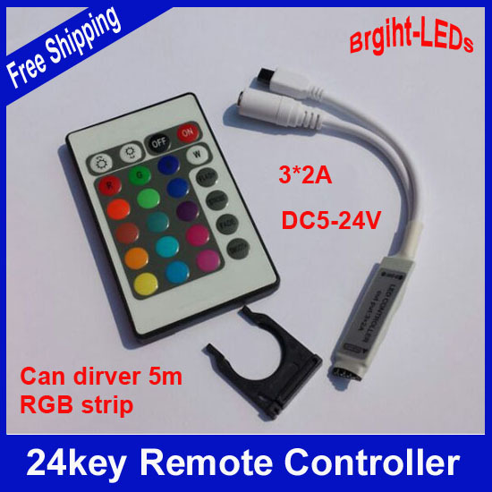 2pcs 12v or 24v LED RGB Strip SMD3528 5050 LED tape controller 24 key IR Remote Control(China (Mainland))