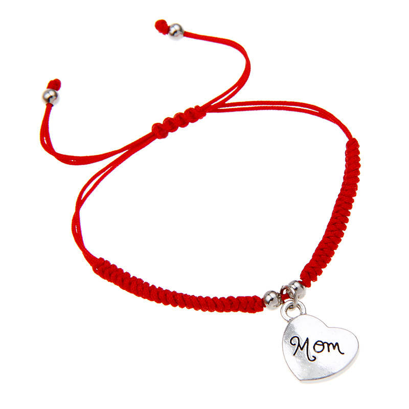 Гаджет  2015 New Fashion Simple Design Handmade Red Rope Braided Silver Love Heart Mom Charm Wrap Bracelet Gift On Mother