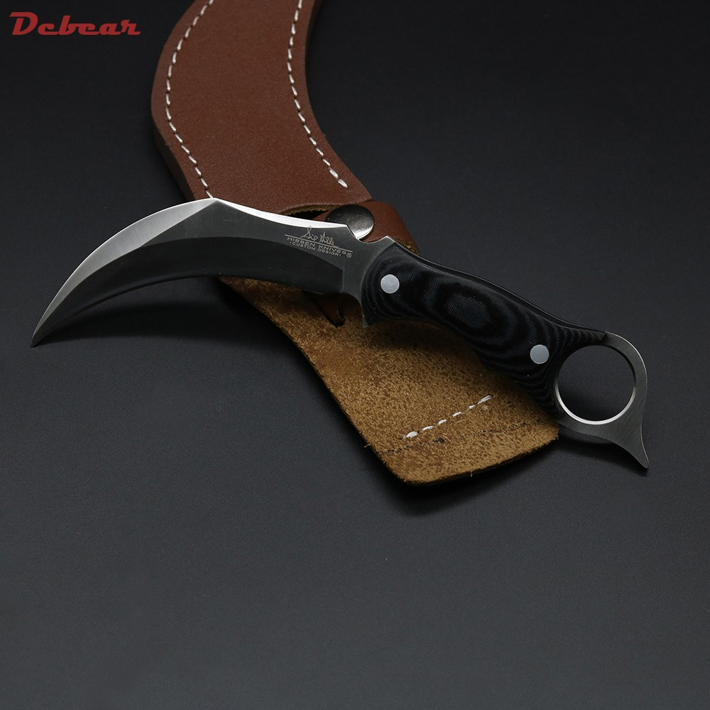 Buy Dcbear High Quality Claw Knife Fixed Blade 440C Steel Karambit Knife Hunting Survival Tools Outdoor Tops Knife EDC F004# cheap