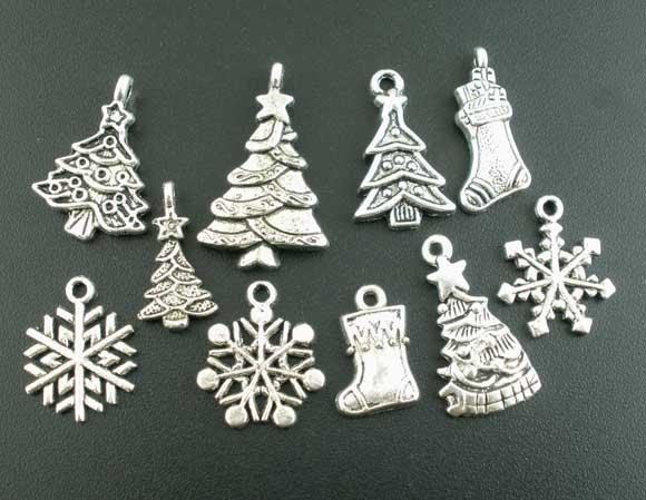 Free Shipping New Arrival 40Pcs Mixed Silver Tone Christmas Motif Charms Pendants(China (Mainland))