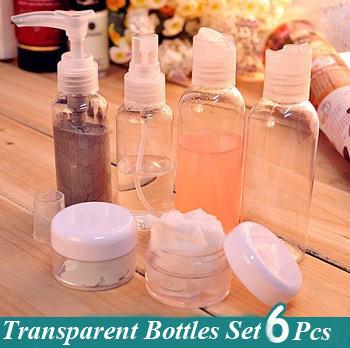 6pcs/set Travel Cosmetic Bottles Set Spray Press Mask Bottles Mini Style Makeup Tools Free Shipping