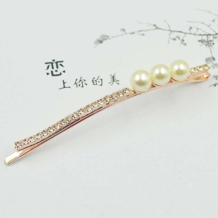 ( 2PCS/LOTS) Simple Pearls Rhinestone Long Hair Clip Costume Hair Jewelry Hair Accessories For Women